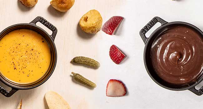 Cheese Fondue and Chocolate Fondue with Dippers